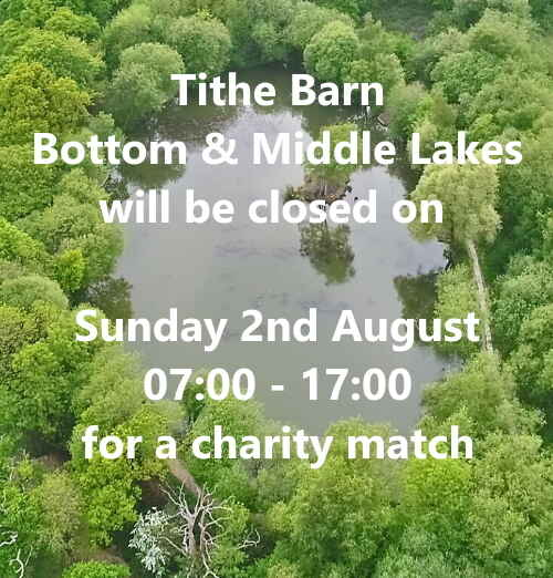 Tithe Barn – Bottom and Middle Lakes Sunday 2nd August
